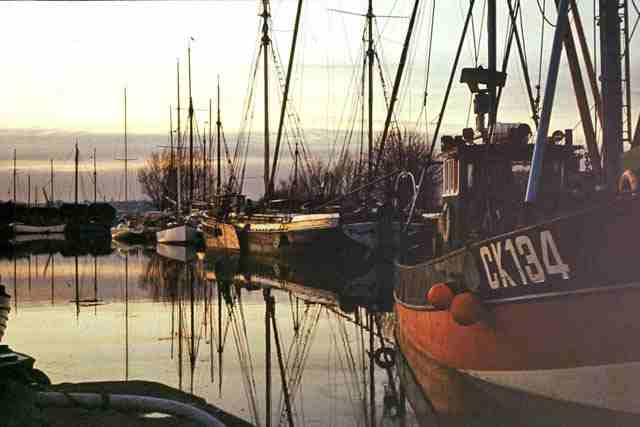 Heybridge Basin, 1973 with CK134, Colchester fishing smack Photo: Robin Webster (Wikimedia Commons)