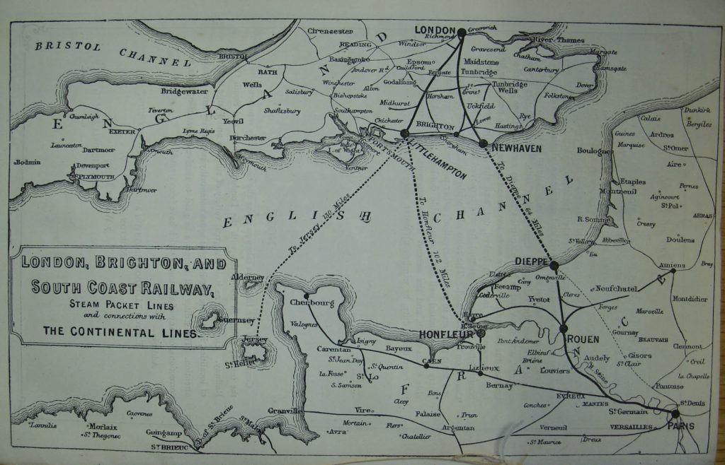 Map showing LB&SCR ferry routes c.1888