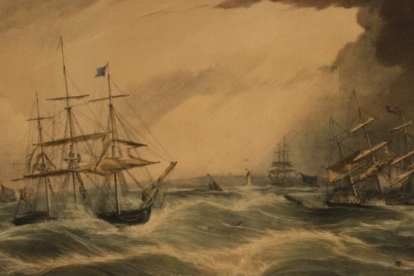 Lithograph, 'The loss of the Pennsylvania New York packet ship'