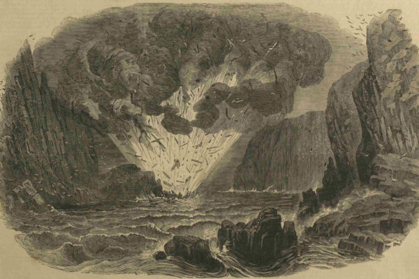 Explosion aboard the wrecked brig 'Lily', 29 December 1852 Illustration: Illustrated London News