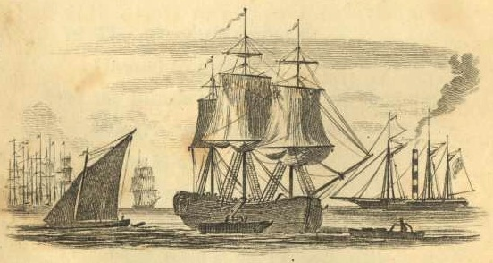 Collier unloading cargo onto a barge City Scenes, by William Darton (Project Gutenberg)